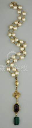 VINTAGE CHANEL FAUX PEARL AND GEMSTONE COSTUME NECKLACE