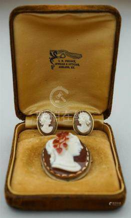 VINTAGE STONE CAMEO BROOCH AND CAMEO EARRINGS