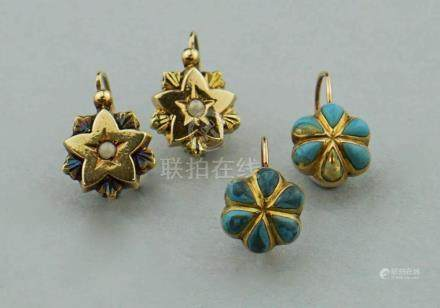 LOW KARAT GOLD AND STONE EARRINGS
