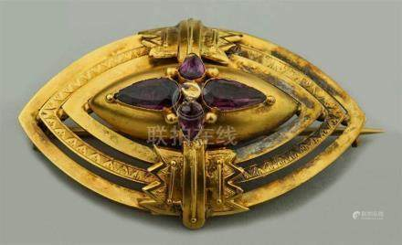 ART DECO YELLOW GOLD AND AMETHYST PIN
