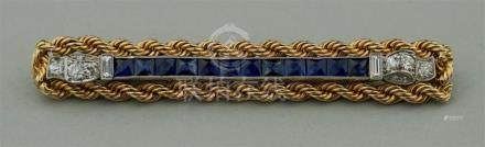 DIAMOND, SAPPHIRE AND 14K YELLOW AND WHITE GOLD BAR PIN