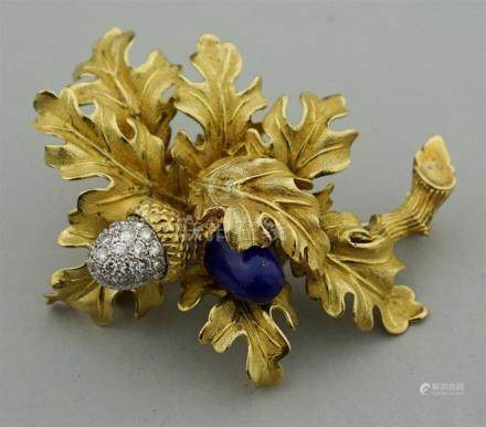 TIFFANY & CO. 18K GOLD, DIAMOND AND LAPIS ACORN LEAF BROOCH
