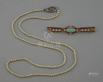 SEED PEARL NECKLACE, SEED PEARL, OPAL AND DIAMOND PIN IN 14K