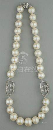11-14.0MM GRADUATED SOUTH SEA PEARL NECKLACE WITH DIAMOND AN