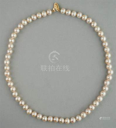 7.0MM X 7.5MM PEARL NECKLACE WITH 14K YELLOW GOLD CLASP