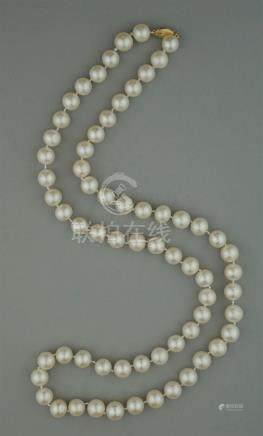 10.0MM CULTURED PEARL STRAND WITH 14K YELLOW GOLD CLASP