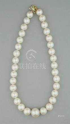 13-17.0MM GRADUATED SOUTH SEA PEARL NECKLACE WITH DIAMOND AN