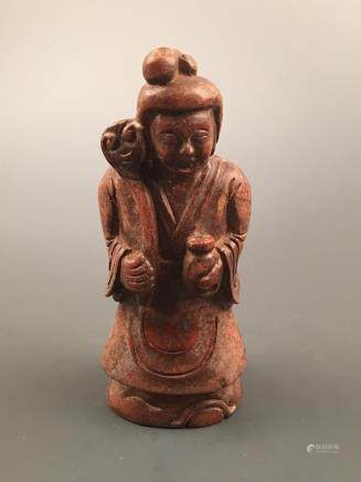 Chinese Archaic 'Beauty' Jade Statue