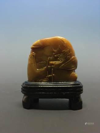 Chinese Shoushang Stone Landscape Carving
