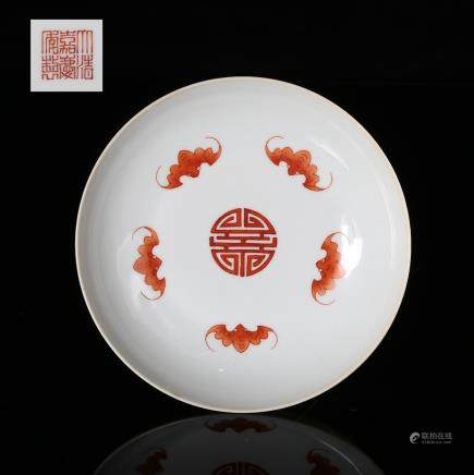 CHINESE BLUE WHITE IRON RED PORCELAIN PLATE