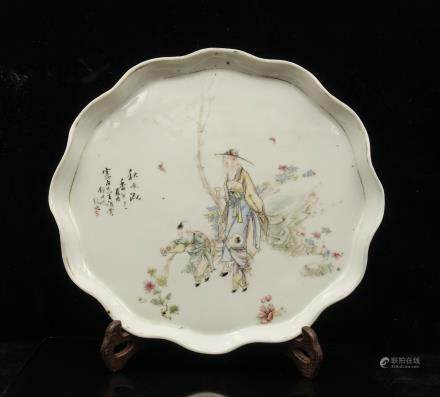 CHINESE QIANJIANG PAINTED PORCELAIN PLATE