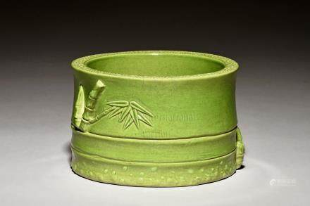 GREEN GLAZED 'BAMBOO' BRUSH POT