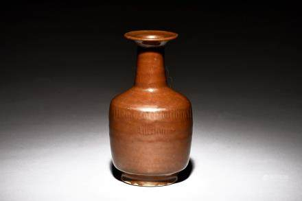 BROWN GLAZED BOTTLE VASE