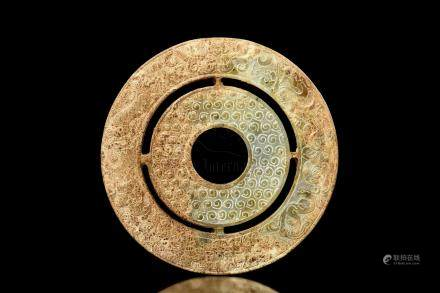JADE CARVED DISC, BI