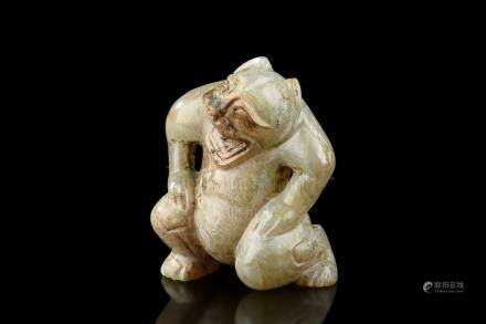 JADE CARVED 'MYTHICAL BEAR' FIGURE