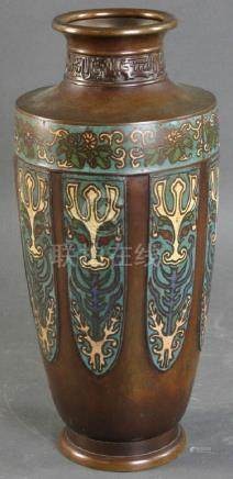 Japanese Cloisonne on Copper Vase