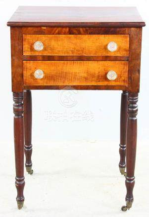 Early 19thC Tiger Maple and Mahogany Stand