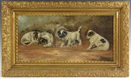 Oil on Canvas of Four Puppies
