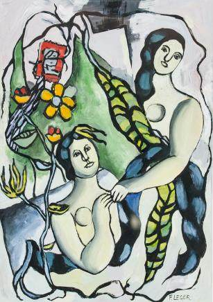 French Cubist Gouache on Paper Fernand LEGER