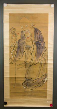 Chinese Watercolor Longevity Deity on Paper Roll
