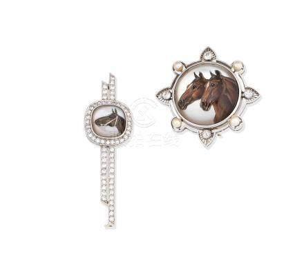 Two gem-set rock crystal intaglio brooches (2)