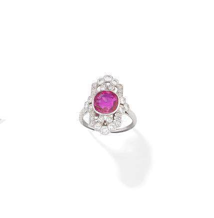 A ruby and diamond plaque ring