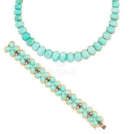 A turquoise necklace and a turquoise and sapphire bracelet, circa 1965 (2)