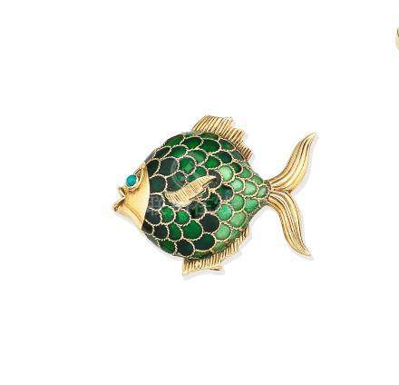 An enamel and turquoise novelty brooch, by Boucheron, circa 1955