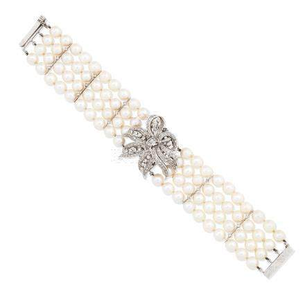 A cultured pearl and diamond watch/bracelet,