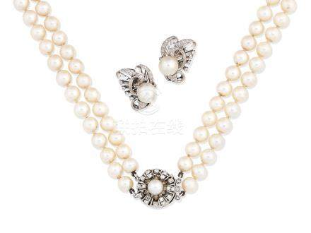A cultured pearl and diamond necklace and a pair of cultured pearl and diamond earrings (2)