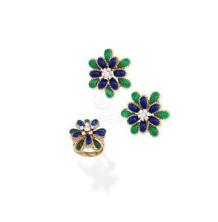 An enamel and diamond ring and a pair of enamel and diamond earclips (2)