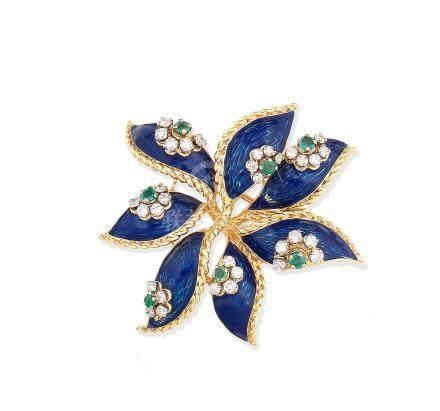 An enamel and gem-set brooch, by Kutchinsky, 1968