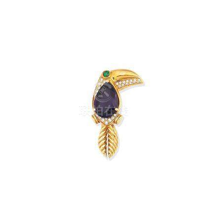 An amethyst and gem-set toucan brooch, by Tiffany, 1988