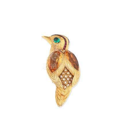 A gem-set novelty brooch, by Cartier, circa 1965