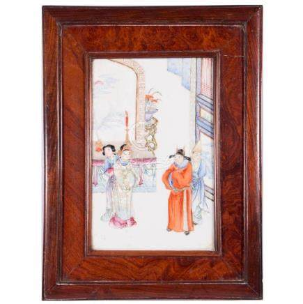Polychrome Porcelain Panel in a Burl Frame.