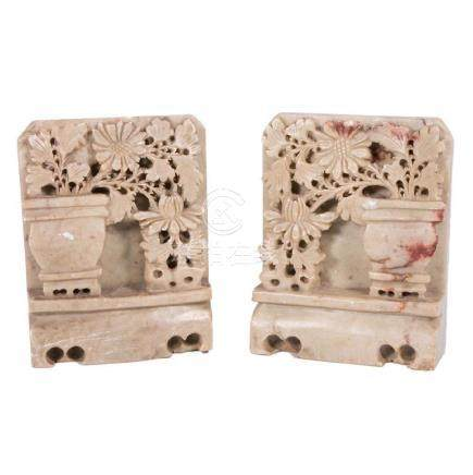 Pair Carved Soap Stone Bookends.