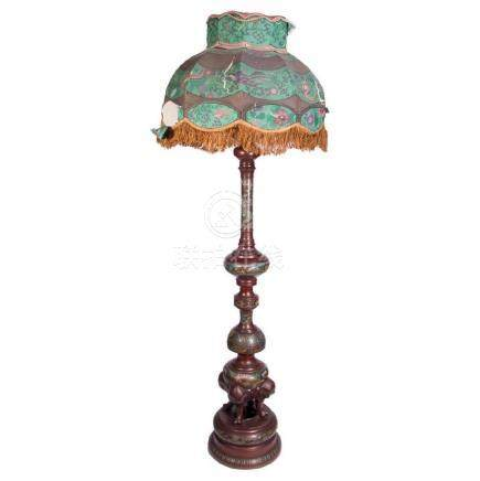 Bronze Champleve Floor Lamp with Elaborate Silk Shade.