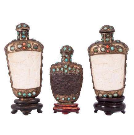 Pair of Snuff Bottles and Single Snuff Bottle, Asian