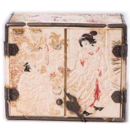 Japanese Miniature Carved and Lacquered Cabinet. 19th.