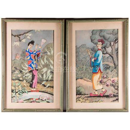 A pair of Chinese watercolors of a man and woman in a g