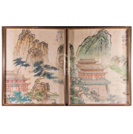 A pair of Chinese landscapes on silk.