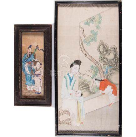 Two Chinese paintings on silk.