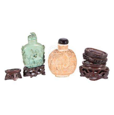 Two Large Snuff Bottles and 4 Asian Stands.