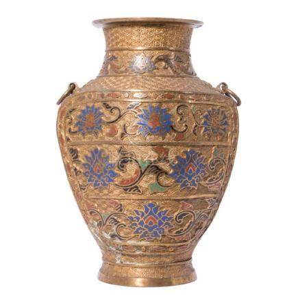 Brass Vase with Enameling, Chinese.