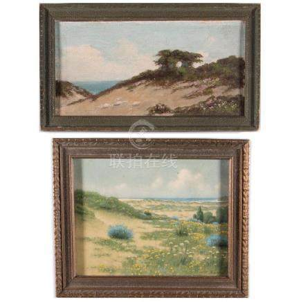 Two California dunescapes, one lithograph and one oil o