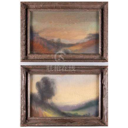 Pair of impressionist watercolor landscapes.