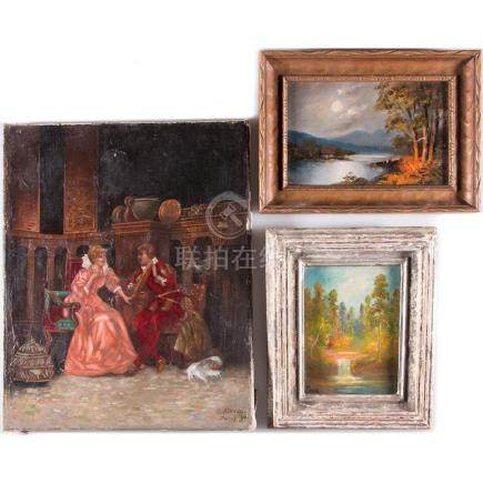 Three decorative oil paintings.