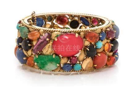 An 18 Karat Yellow Gold and Multigem Bangle Bracelet,
