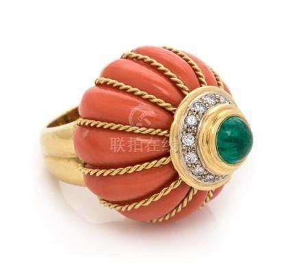 An 18 Karat Yellow Gold, Coral, Emerald and Diamond