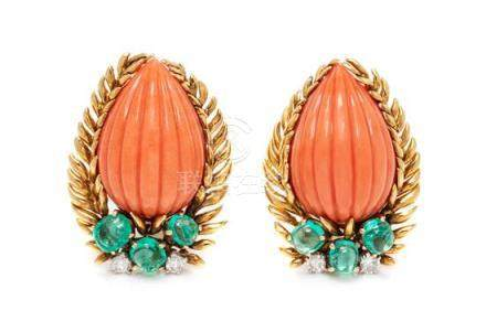 A Pair of 18 Karat Yellow Gold, Coral, Emerald and
